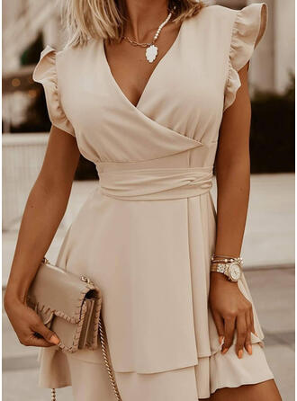 Jednolity Krótkie rękawy Small Latający Rękaw Sukienka Trapezowa Nad kolana Elegancki Łyżwiaż Sukienki