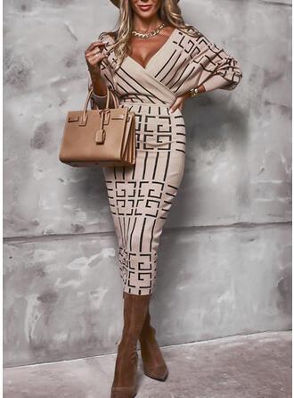 Print Long Sleeves Bodycon Pencil Elegant Midi Dresses