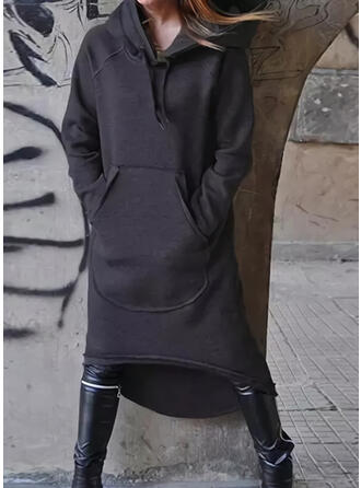 Jednolita Długie rękawy Koktajlowa Bluza Casual Midi Sukienki
