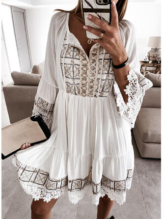 Lace/Print/Sequins 3/4 Sleeves A-line Above Knee Casual/Vacation Skater Dresses