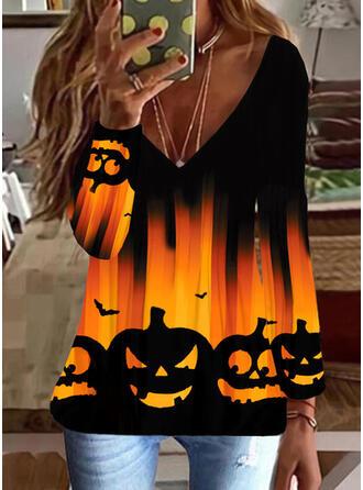 Halloween Nadruk Zwierzę Dekolt w kształcie litery V Długie rękawy T-shirty