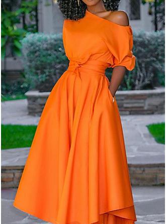 Jednolita Rękawy 1/2 W kształcie litery A Casual Midi Sukienki