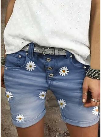Kwiatowy Nadruk Dżinsowa Nad kolanem Nieformalny Duży rozmiar Pocket Przycisk Spodnie Szorty Dżinsy