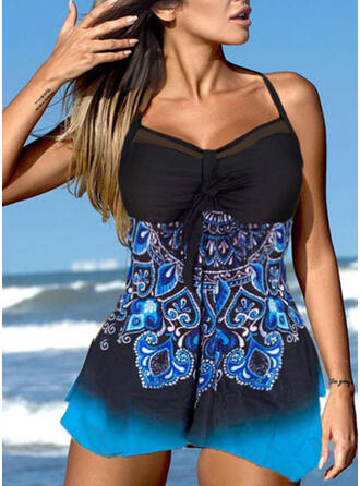Print Gradient Strap V-Neck Attractive Casual Swimdresses Swimsuits