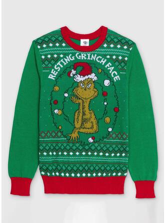 Unisex Nadruk Blok Koloru Wytłaczany Brzydki świąteczny sweter