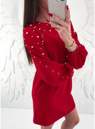 Jednolita Długie rękawy Koktajlowa Nad kolana Mała czarna/Boże Narodzenie/Casual/Elegancki Sukienki