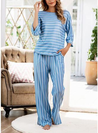 Mieszanki bawełniane W paski Duży rozmiar Okrągły dekolt Długie rękawy Zestaw do piżamy