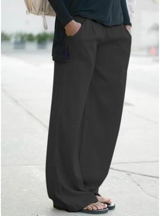 Jednolity Bielizna Długo Nieformalny Wakacyjna Duży rozmiar Pocket Spodnie Spodnie Lounge