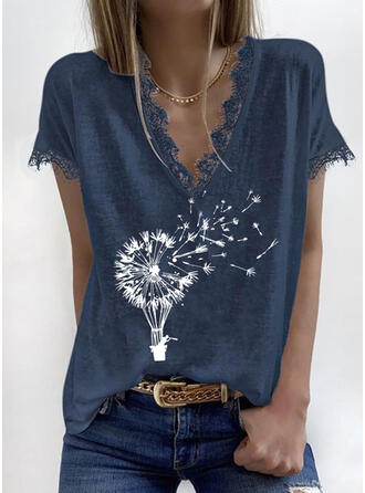 Print Lace V-Neck Short Sleeves Casual T-shirts