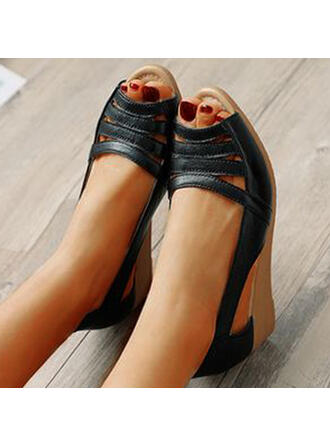 Women's PU Wedge Heel Sandals Flats Peep Toe With Hollow-out Solid Color shoes