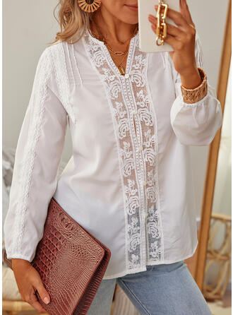 Jednolity Lapel Długie rękawy Nieformalny Bluzki