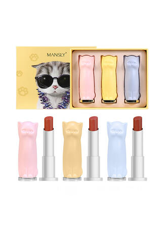 3-color Matte Shimmer Lipsticks Lip Sets With Box