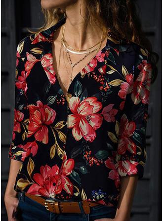 Nadruk Kwiatowy Klapa Długie rękawy Zapięcie na guzik Casual Bluski koszulowe