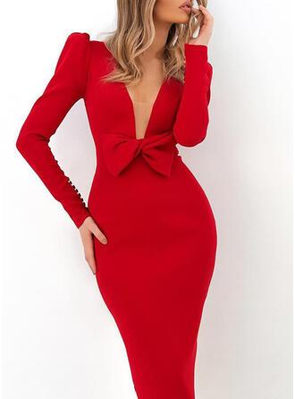 Jednolita Długie rękawy/Bufiaste rękawy Bodycon Ołówkowa Przyjęcie/Elegancki Midi Sukienki