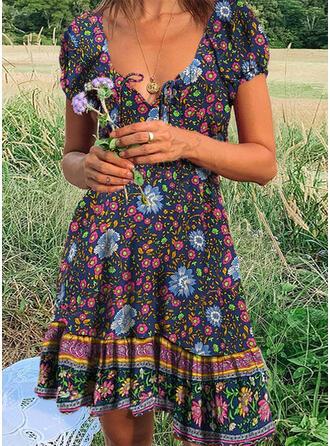 Nadrukowana/Kwiatowy Krótkie rękawy W kształcie litery A Długośc do kolan Casual/Boho/Wakacyjna Sukienki