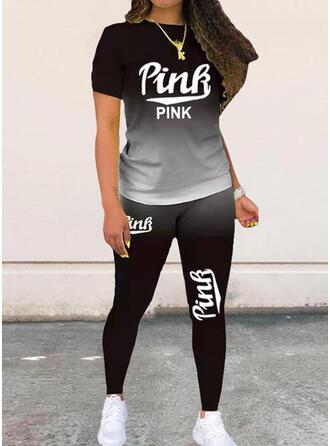 Print Plus Size Casual Sporty Suits