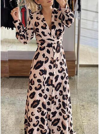 lampart Długie rękawy W kształcie litery A Łyżwiaż Elegancki Maxi Sukienki