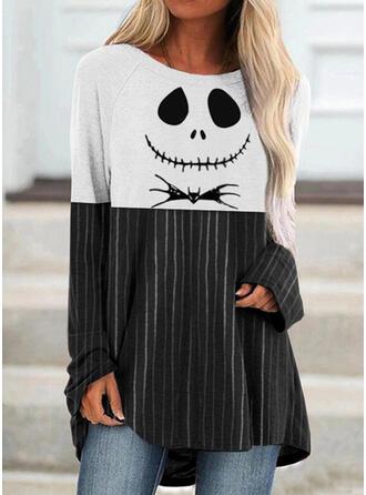 Halloween Blok Koloru Nadruk W paski Zwierzę Okrągły dekolt Długie rękawy T-shirty