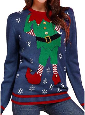 Damskie Poliester Kreskówka Brzydki świąteczny sweter