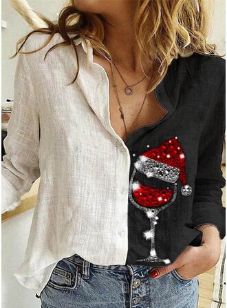 Nadruk Cekiny Klapa Długie rękawy Zapięcie na guzik Boże Narodzenie Bluski koszulowe