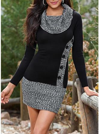 Blok Kolorów Dekolt Woda Casual Długie Sukienka sweterkowa