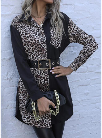 Leopard Long Sleeves Sheath Above Knee Casual Shirt Dresses
