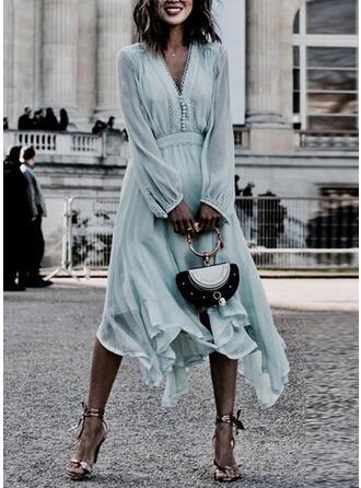 Jednolita Długie rękawy W kształcie litery A Casual/Wakacyjna Midi Sukienki