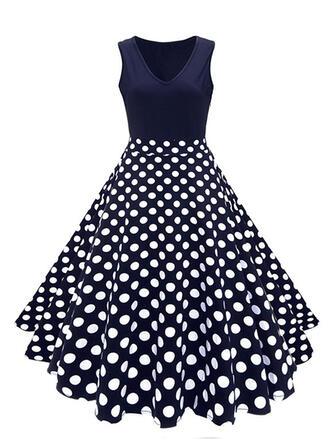 Print/Floral/PolkaDot Sleeveless A-line Skater Vintage/Party Midi Dresses