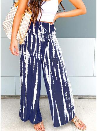 Marszczona Tie Dye Długo Boho Nieformalny Elegancki Spodnie