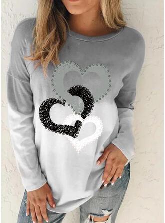 Nadruk Tie Dye Okrągły dekolt Długie rękawy Casual T-shirty
