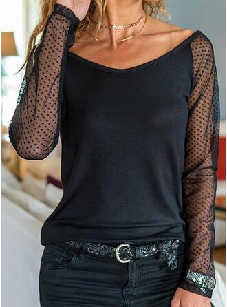 Jednolity Groszki Dekolt w kształcie litery V Długie rękawy Casual Bluzki