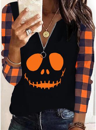 Halloween Nadruk W kratę Dekolt w kształcie litery V Długie rękawy Nieformalny Bluzki