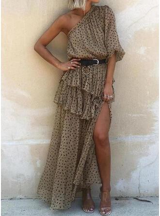 Nadrukowana Rękawy 1/2 W kształcie litery A Casual Maxi Sukienki
