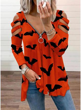 Halloween Nadruk Zwierzę Zimne ramię Długie rękawy T-shirty