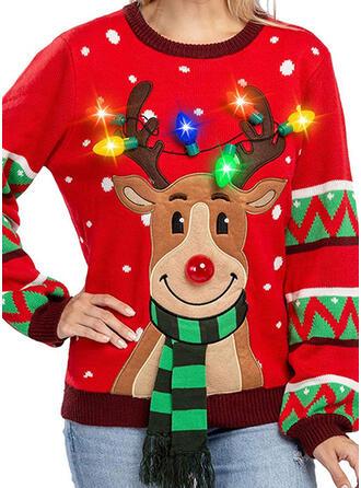 Damskie Poliester Wydrukować Deer Brzydki świąteczny sweter