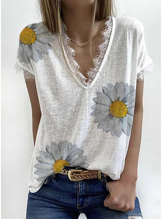 Print Floral Lace V-Neck Short Sleeves Casual Blouses