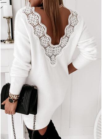 Jednolity Koronka/Dzianina Długie rękawy Suknie shift Nad kolana Nieformalny Sweter Sukienki