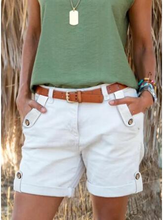 Jednolity Nad kolanem Nieformalny Duży rozmiar Pocket Przycisk Spodnie Szorty
