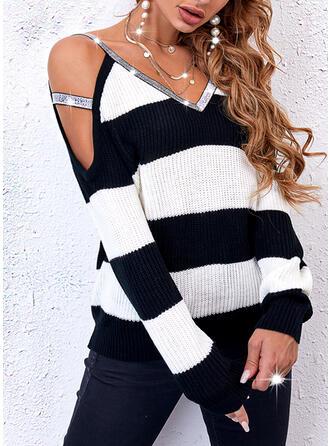 Nadruk Blok Koloru cekiny Zimne ramię Nieformalny Swetry