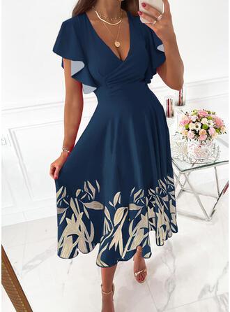 Nadruk/Kwiatowy Krótkie rękawy Ruffle Sleeve Sukienka Trapezowa Łyżwiaż Elegancki Midi Sukienki