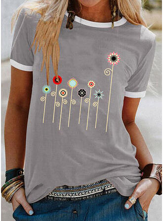 Print Round Neck Short Sleeves T-shirts