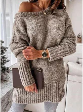 Jednolity Okrągły dekolt Nieformalny Swetry
