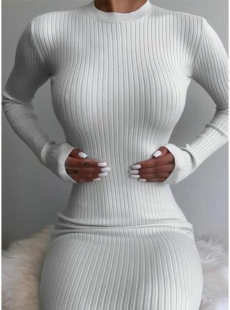 Jednolita Długie rękawy Bodycon Seksowna/Casual Midi Sukienki