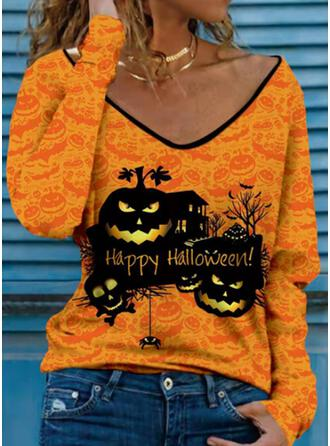 Halloween Nadruk Wytłaczany Skull Head Dekolt w kształcie litery V Długie rękawy T-shirty