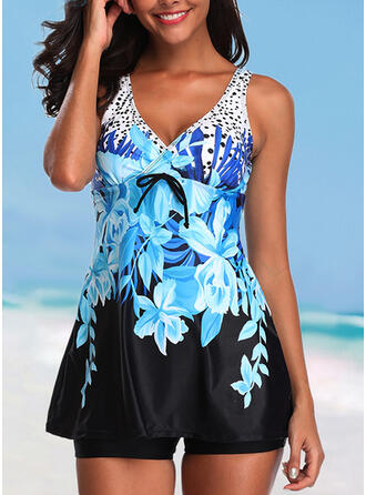 Tropical Print Strap V-Neck Attractive Casual Swimdresses Swimsuits
