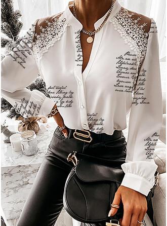 Print Lace Figure V-Neck Long Sleeves Button Up Elegant Shirt Blouses