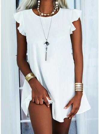 Jednolity Krótkie rękawy Small Latający Rękaw Suknie shift Długośc do kolan Nieformalny Sukienki