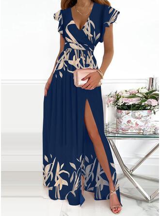 Nadruk Krótkie rękawy Ruffle Sleeve Sukienka Trapezowa Łyżwiaż Elegancki Maxi Sukienki