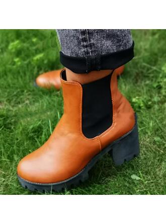 Dla kobiet Material Obcas Slupek Botki Round Toe Z Elastic Band Kolor splotu obuwie