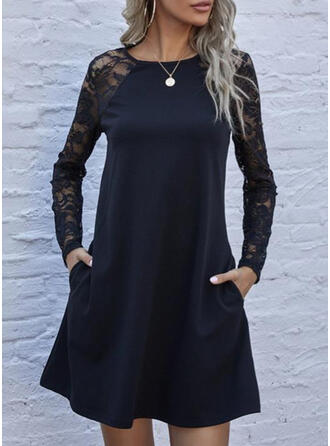 Lace/Solid Long Sleeves Shift Above Knee Little Black/Elegant Tunic Dresses